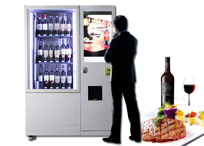Lift Refrigerated Wine Vending Machine , Champagne Beer Vending Kiosk